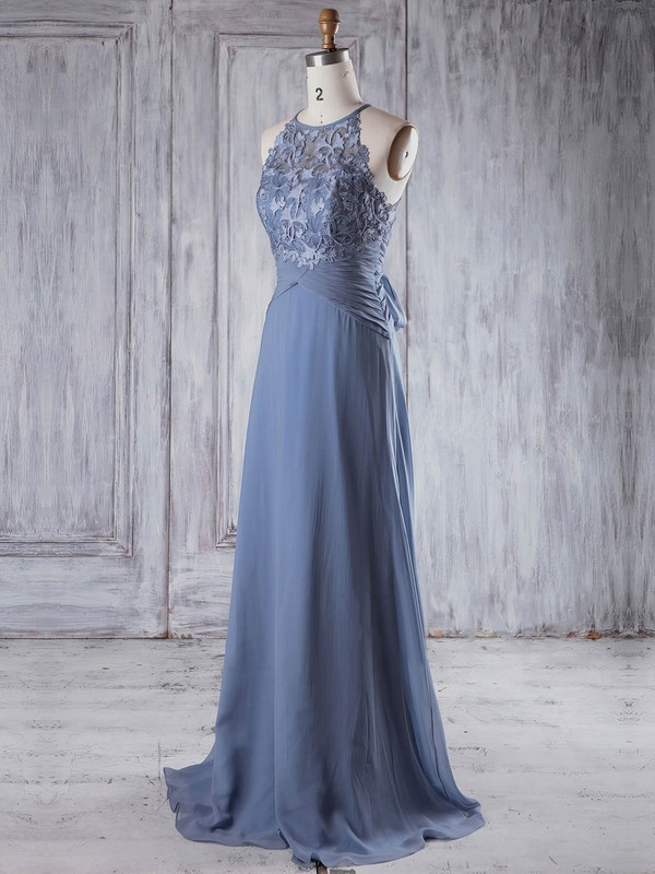 Lace|Chiffon Scoop Neck Sweep Train A-line with Bo|Ruffles Bridesmaid Dresses #PWD01013232