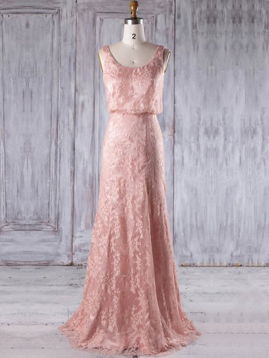 Lace Scoop Neck Floor-length Sheath/Column with Ruffles Bridesmaid Dresses #PWD01013233