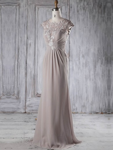 Chiffon|Tulle Scoop Neck Sweep Train Sheath/Column with Appliques Lace Bridesmaid Dresses #PWD01013234