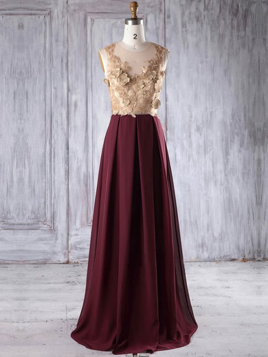 Chiffon|Tulle Scoop Neck Floor-length A-line with Appliques Lace Bridesmaid Dresses #PWD01013235