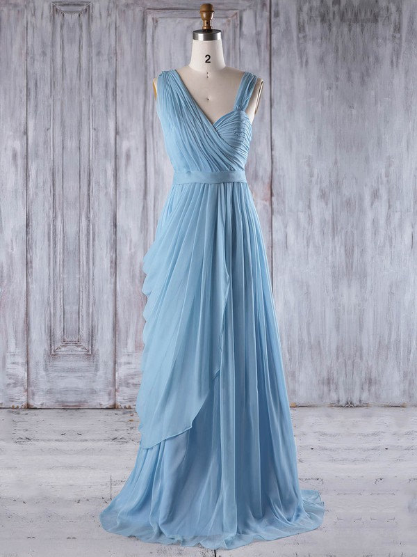 Chiffon Sweetheart Floor-length A-line with Ruffles Bridesmaid Dresses #PWD01013237
