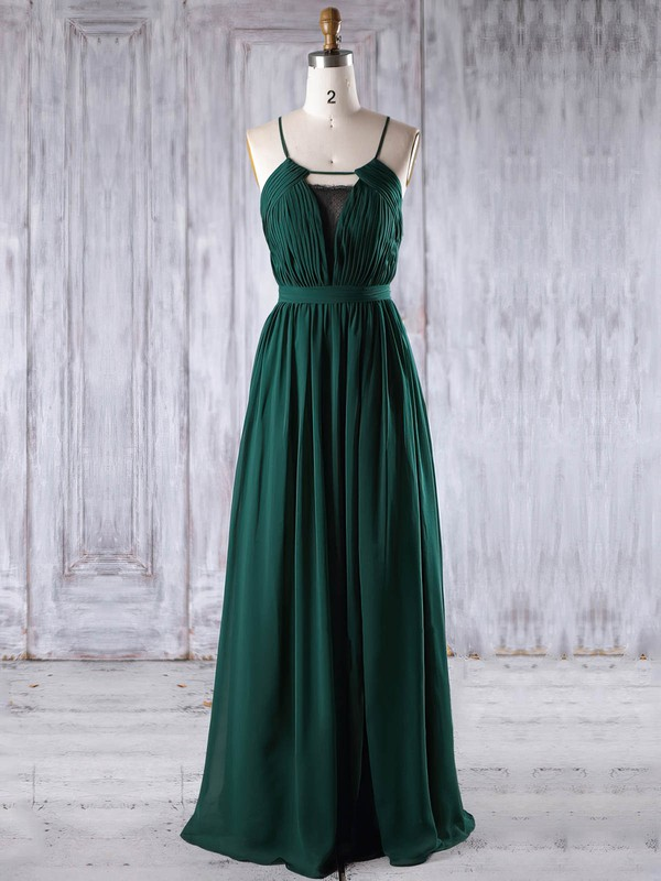 Chiffon Scoop Neck Floor-length A-line with Lace Bridesmaid Dresses #PWD01013238