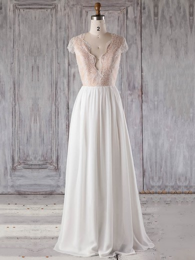 Chiffon|Tulle V-neck Floor-length A-line with Appliques Lace Bridesmaid Dresses #PWD01013239