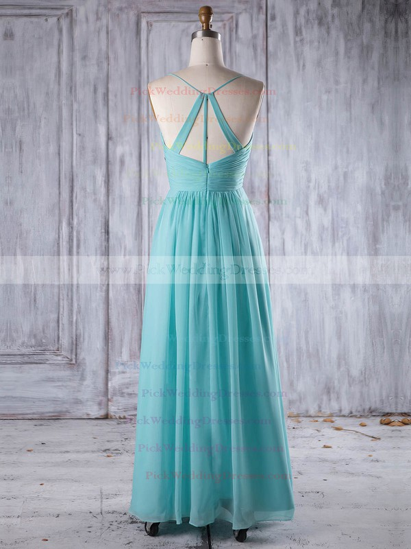 Chiffon V-neck Floor-length A-line with Ruffles Bridesmaid Dresses #PWD01013241