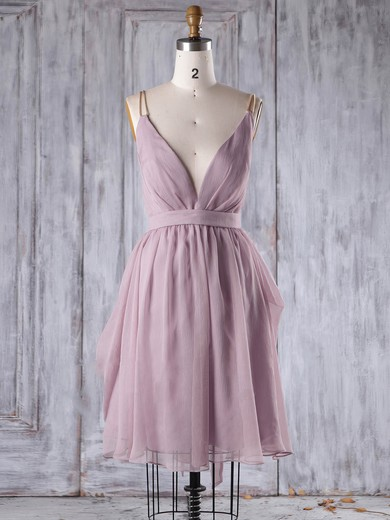 Chiffon V-neck Short/Mini A-line with Sashes / Ribbons Bridesmaid Dresses #PWD01013242