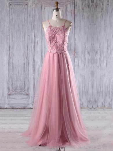 Tulle Scoop Neck Floor-length A-line with Appliques Lace Bridesmaid Dresses #PWD01013243