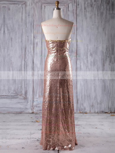 Sequined Sweetheart Floor-length Sheath/Column with Ruffles Bridesmaid Dresses #PWD01013244