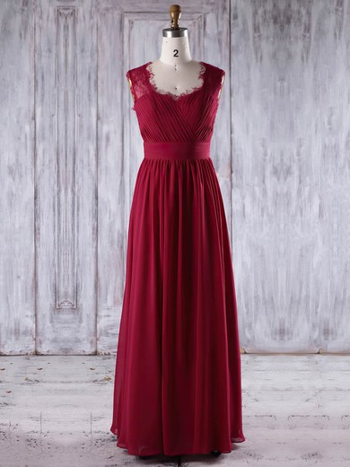 Lace|Chiffon Sweetheart Floor-length A-line with Ruffles Bridesmaid Dresses #PWD01013245