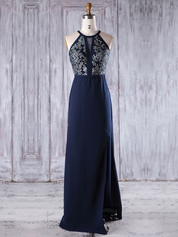 Chiffon Scoop Neck Floor-length A-line with Split Front Bridesmaid Dresses #PWD01013246