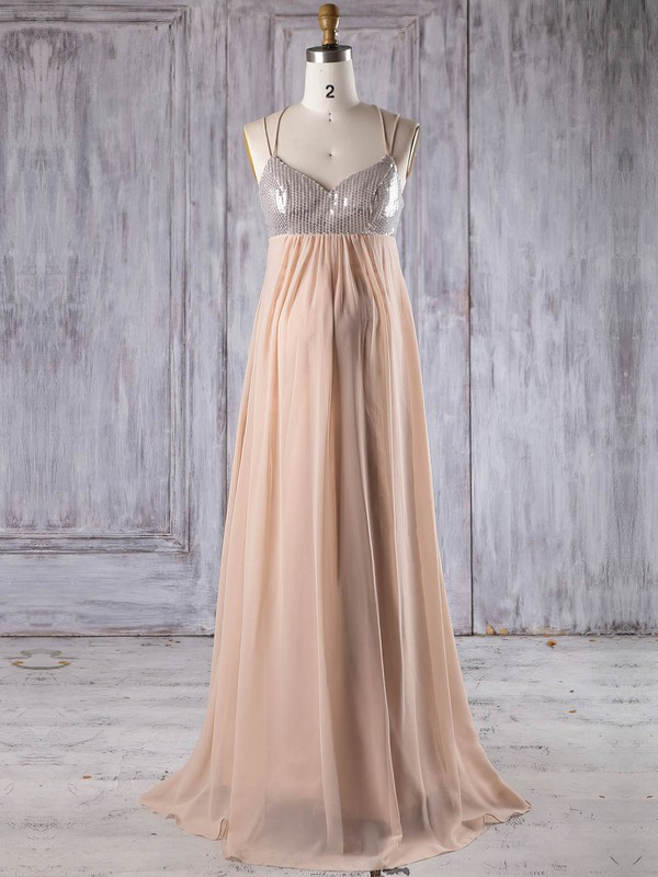 Chiffon V-neck Floor-length Empire with Sequins Bridesmaid Dresses #PWD01013247