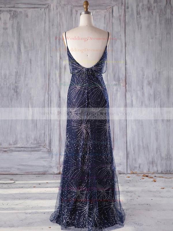 Tulle V-neck Floor-length Sheath/Column with Beading Bridesmaid Dresses #PWD01013248