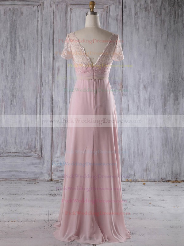 Lace|Chiffon V-neck Floor-length Empire with Ruffles Bridesmaid Dresses #PWD01013249