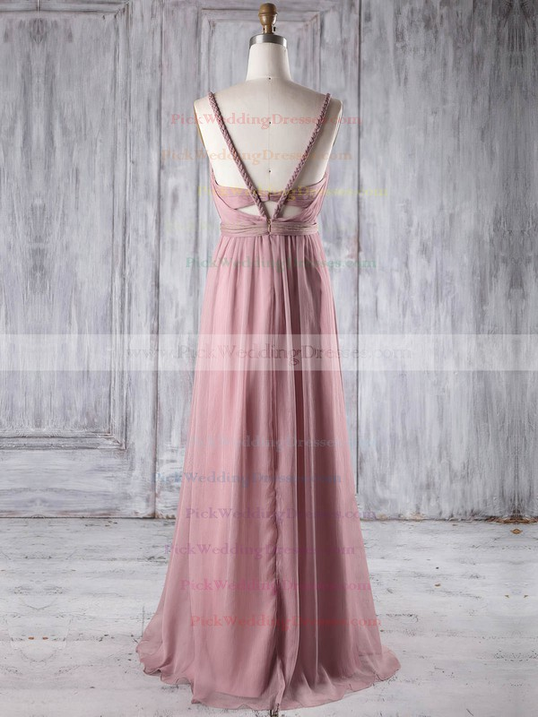 Chiffon V-neck Floor-length Empire with Ruffles Bridesmaid Dresses #PWD01013250