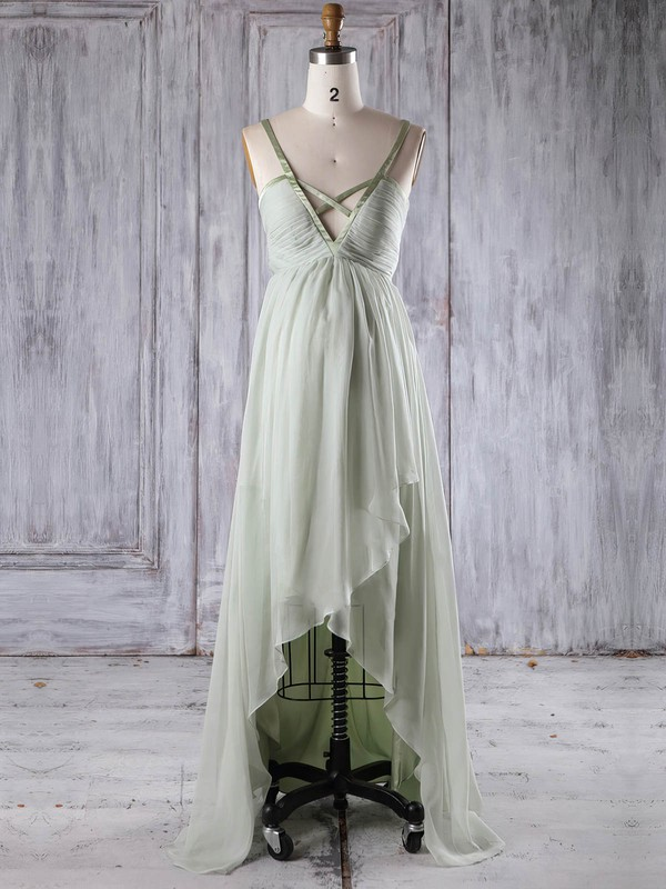 Chiffon V-neck Asymmetrical Empire with Ruffles Bridesmaid Dresses #PWD01013251