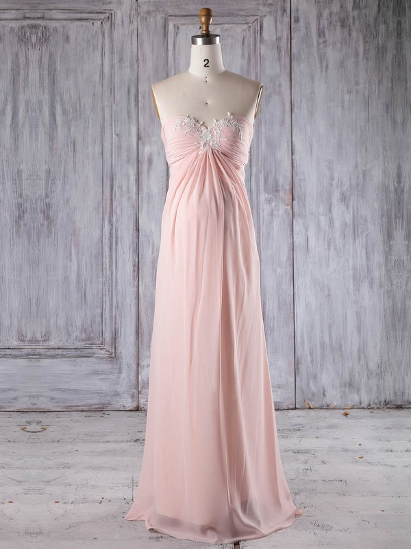 Chiffon Sweetheart Floor-length Empire with Appliques Lace Bridesmaid Dresses #PWD01013252