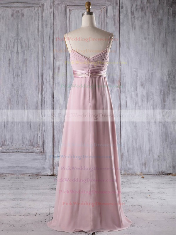 Chiffon V-neck Floor-length Empire with Flower(s) Bridesmaid Dresses #PWD01013253