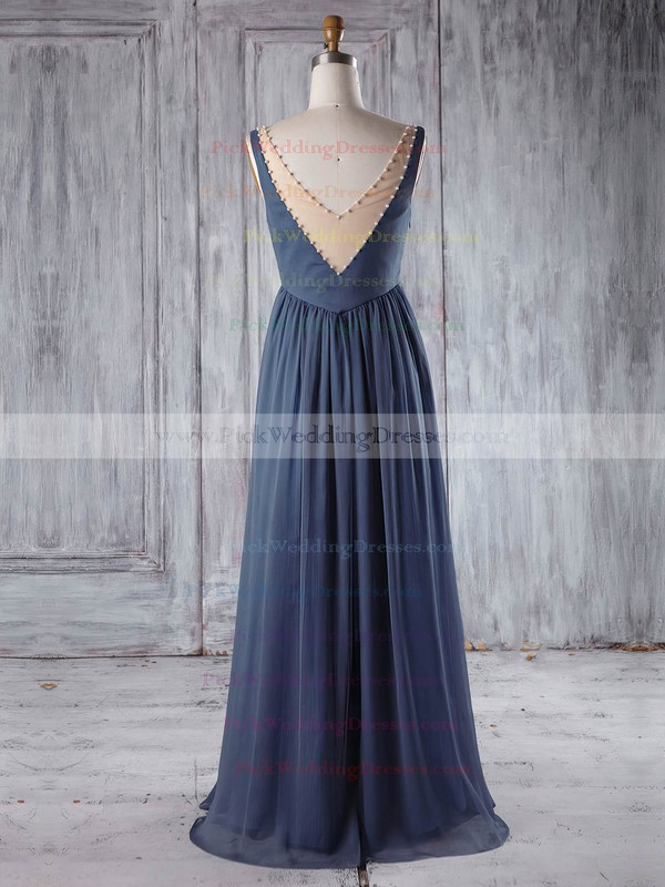 Chiffon|Tulle Scoop Neck Floor-length Empire with Pearl Detailing Bridesmaid Dresses #PWD01013255