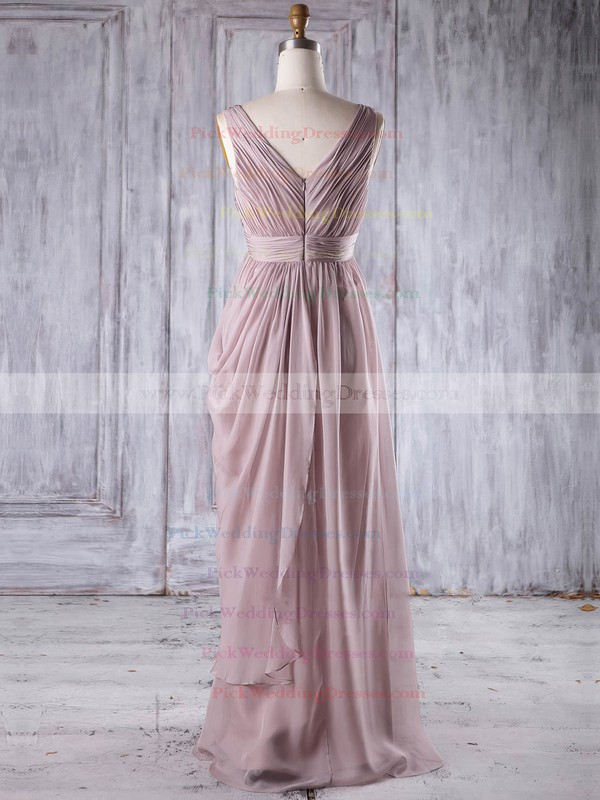 Chiffon V-neck Floor-length Empire with Sequins Bridesmaid Dresses #PWD01013256