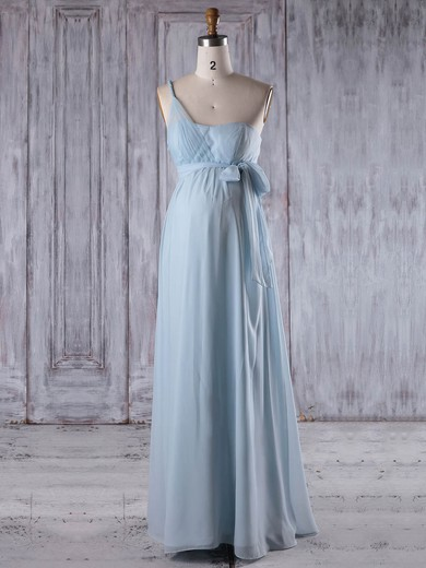 Chiffon One Shoulder Floor-length Empire with Sashes / Ribbons Bridesmaid Dresses #PWD01013257