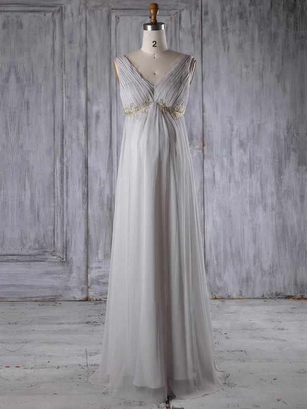Chiffon V-neck Floor-length Empire with Appliques Lace Bridesmaid Dresses #PWD01013259