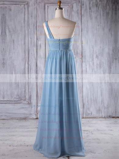Chiffon One Shoulder Floor-length Empire with Ruffles Bridesmaid Dresses #PWD01013260