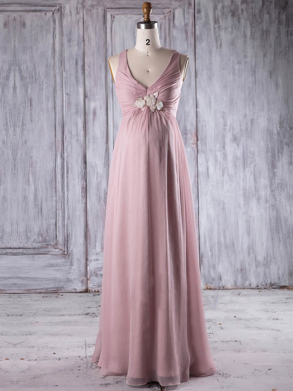 Chiffon V-neck Floor-length Empire with Flower(s) Bridesmaid Dresses #PWD01013263