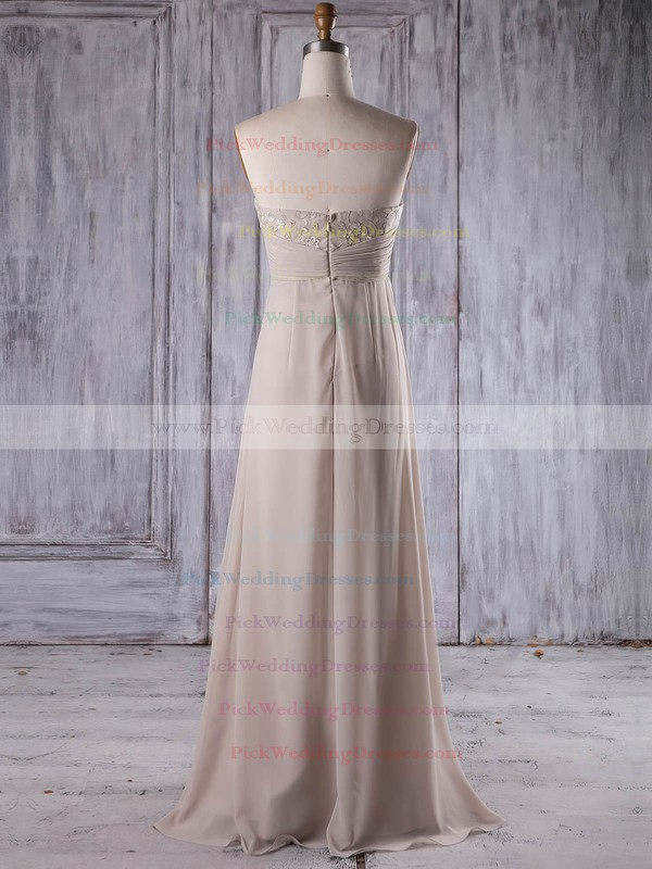 Chiffon Strapless Floor-length Empire with Lace Bridesmaid Dresses #PWD01013264