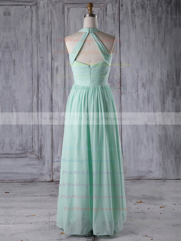 Chiffon V-neck Floor-length A-line with Ruffles Bridesmaid Dresses #PWD01013265