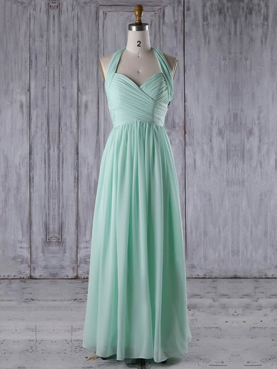 Chiffon V-neck Floor-length A-line with Ruffles Bridesmaid Dresses #PWD01013265