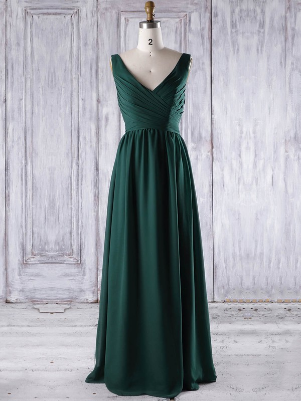 Chiffon V-neck Floor-length A-line with Ruffles Bridesmaid Dresses #PWD01013267