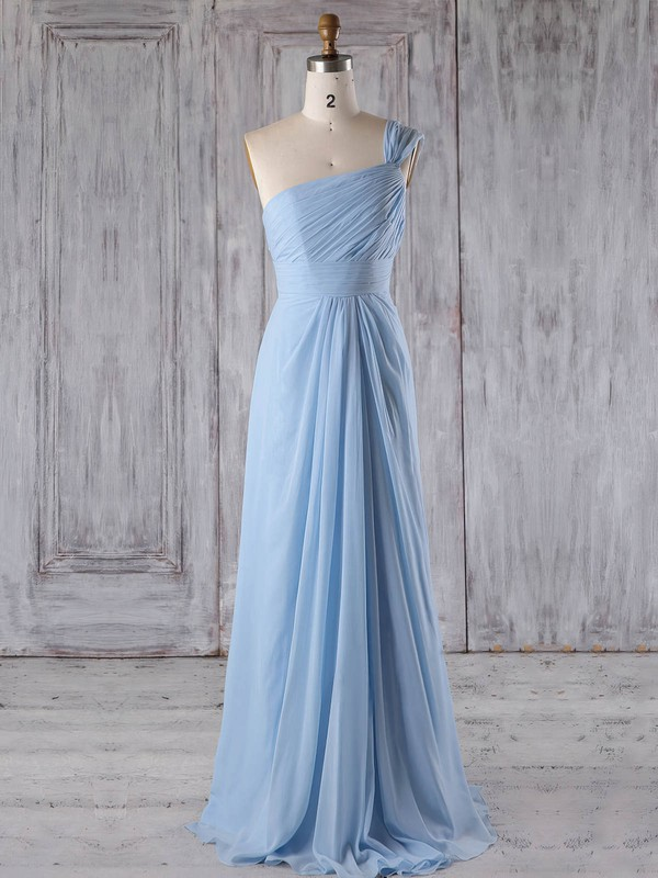 Chiffon Scoop Neck Floor-length A-line with Ruffles Bridesmaid Dresses #PWD01013268