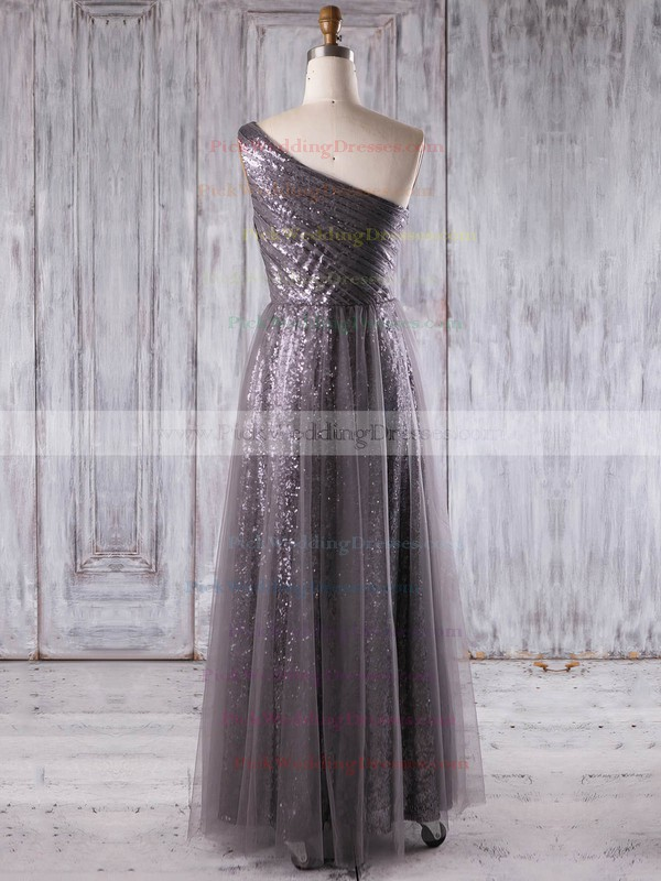 Tulle|Sequined One Shoulder Floor-length A-line with Ruffles Bridesmaid Dresses #PWD01013269