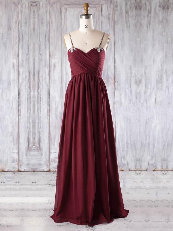Chiffon Sweetheart Floor-length Empire with Beading Bridesmaid Dresses #PWD01013270