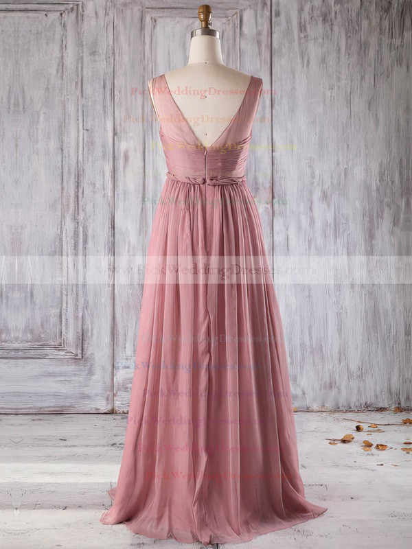 Chiffon V-neck Floor-length A-line with Ruffles Bridesmaid Dresses #PWD01013271