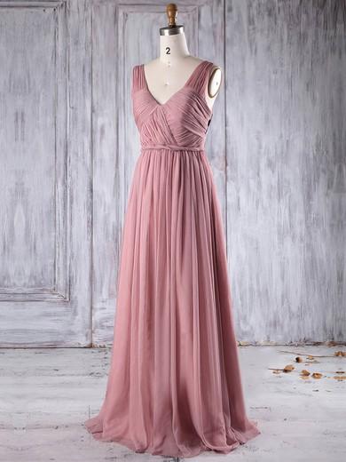 Chiffon V-neck Floor-length A-line with Ruffles Bridesmaid Dresses #PWD01013271