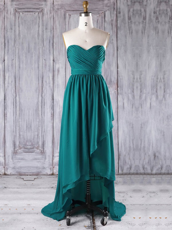 Chiffon Sweetheart Asymmetrical A-line with Ruffles Bridesmaid Dresses #PWD01013272