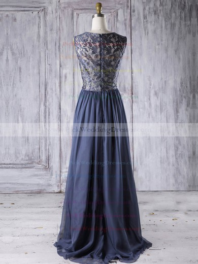 Chiffon Scoop Neck Floor-length A-line with Lace Bridesmaid Dresses #PWD01013273