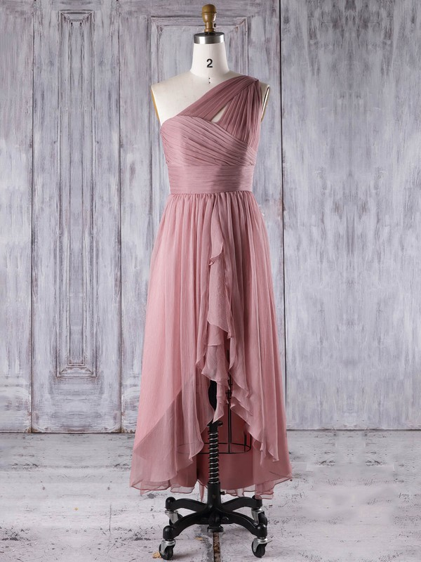 Chiffon One Shoulder Asymmetrical A-line with Ruffles Bridesmaid Dresses #PWD01013274