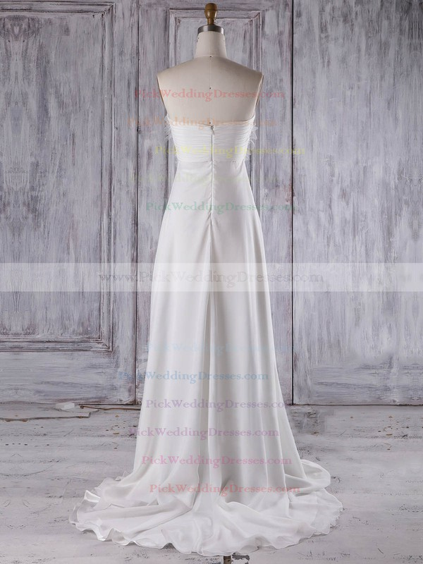 Chiffon Sweetheart Sweep Train Empire with Criss Cross Bridesmaid Dresses #PWD01013275