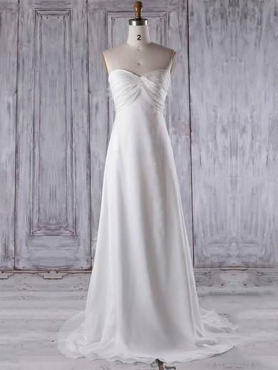 Chiffon Sweetheart Sweep Train Empire with Criss Cross Bridesmaid Dresses #PWD01013275
