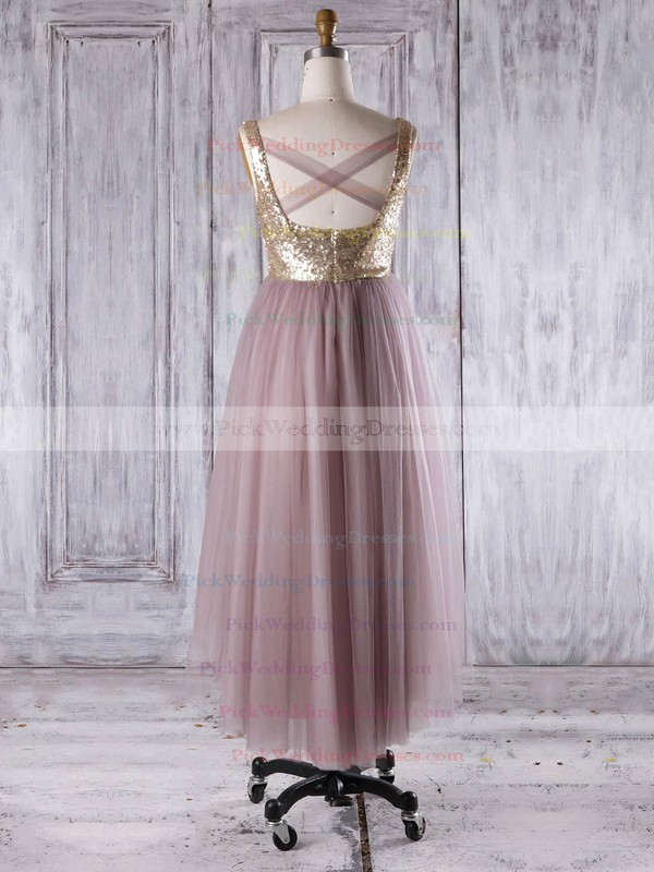 Tulle|Sequined V-neck Asymmetrical A-line with Ruffles Bridesmaid Dresses #PWD01013276