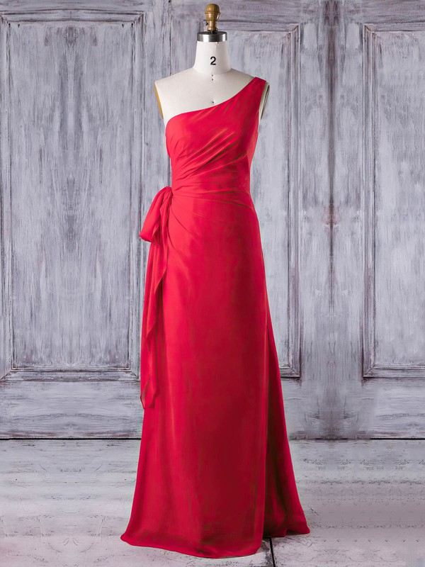 Chiffon One Shoulder Floor-length Sheath/Column with Ruffles Bridesmaid Dresses #PWD01013278