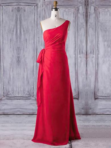 Chiffon One Shoulder Floor-length Sheath/Column with Ruffles Bridesmaid Dresses #PWD01013278