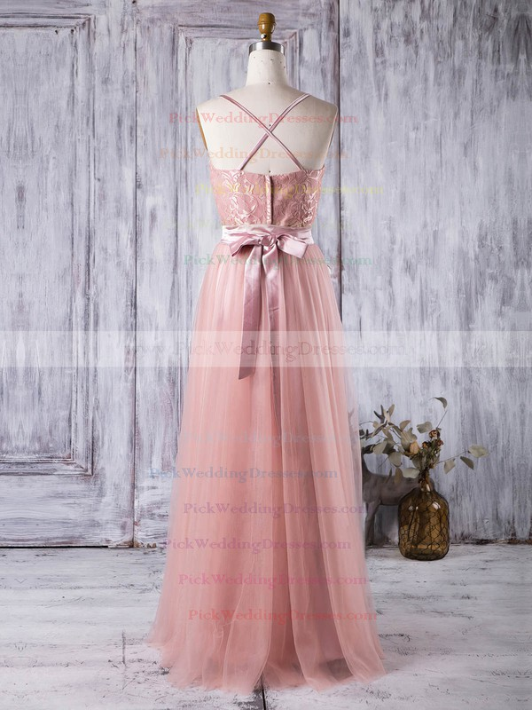 Lace Tulle Sweetheart Floor-length A-line with Sashes / Ribbons Bridesmaid Dresses #PWD01013279