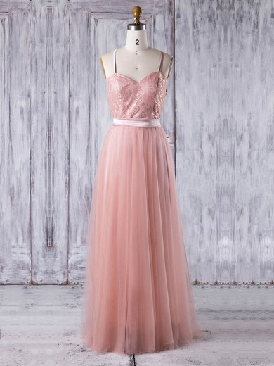Lace|Tulle Sweetheart Floor-length A-line with Sashes / Ribbons Bridesmaid Dresses #PWD01013279