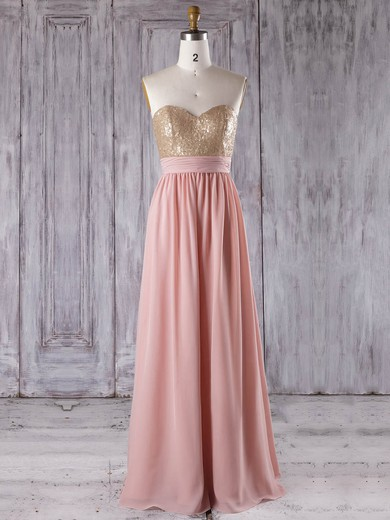 Chiffon Sweetheart Floor-length A-line with Sequins Bridesmaid Dresses #PWD01013280