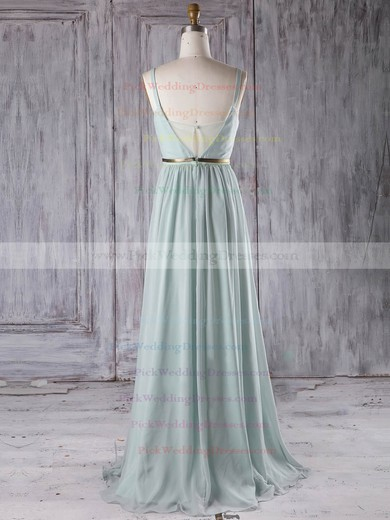 Chiffon V-neck Floor-length A-line with Sashes / Ribbons Bridesmaid Dresses #PWD01013281