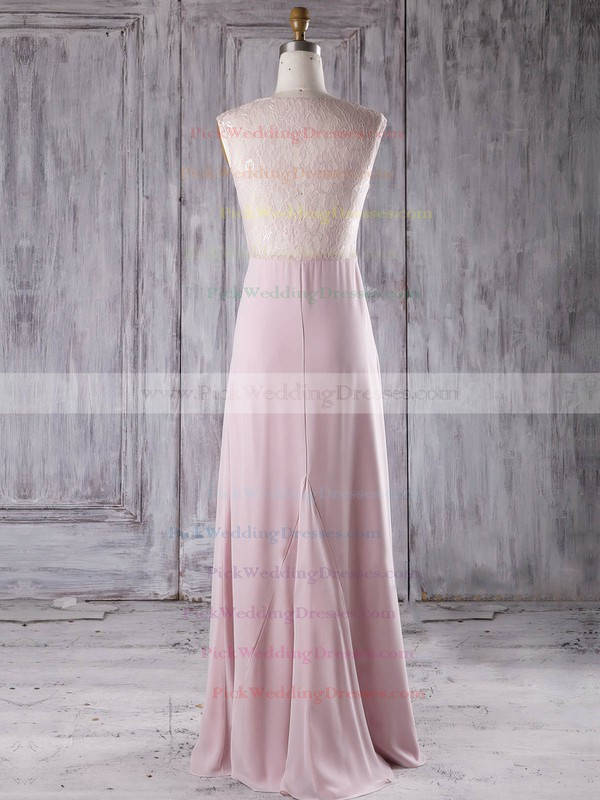 Lace|Chiffon V-neck Floor-length A-line with Ruffles Bridesmaid Dresses #PWD01013282