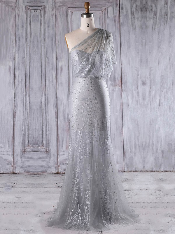 Tulle One Shoulder Floor-length Trumpet/Mermaid with Appliques Lace Bridesmaid Dresses #PWD01013283