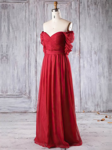 Chiffon Off-the-shoulder Floor-length A-line with Ruffles Bridesmaid Dresses #PWD01013284